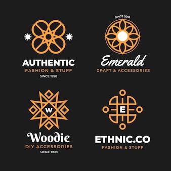 Coleção de logotipo de acessórios de moda de design plano