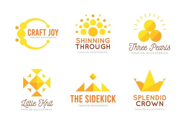 Coleção de logotipo de acessórios de moda plana
