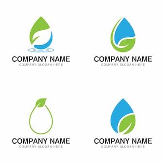 Coleção de logotipo de água verde eco