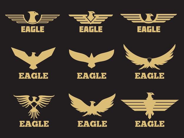 Coleção de logotipo de águias heráldicas de ouro