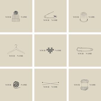 Coleção de logotipo de alfaiataria feita à mão