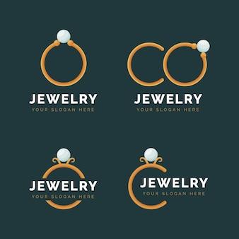 Coleção de logotipo de anel de design plano
