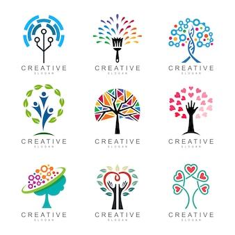 Coleção de logotipo de árvore abstrata, conjunto de logotipo de árvore