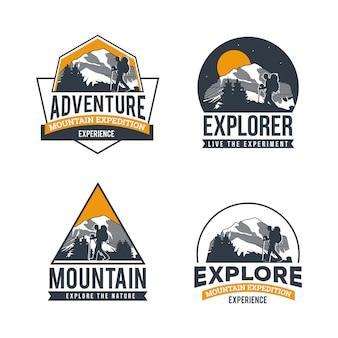 Coleção de logotipo de aventura de montanha
