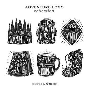 Coleção de logotipo de aventura desenhada de mão