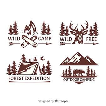 Coleção de logotipo de aventura desenhada mão incolor