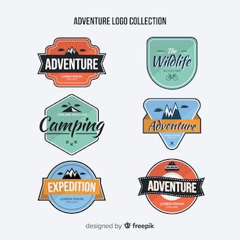 Coleção de logotipo de aventura vintage