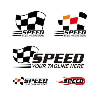 Coleção de logotipo de bandeira de corrida