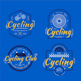 Coleção de logotipo de bicicleta desenhada à mão