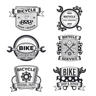 Coleção de logotipo de bicicleta monocromática