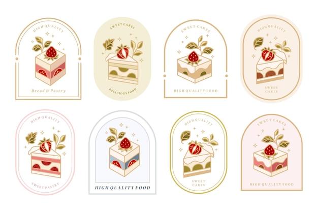 Coleção de logotipo de bolo vintage e rótulo de comida com elementos florais de moldura de morango
