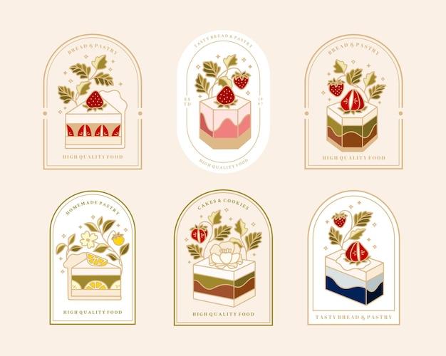 Coleção de logotipo de bolo vintage e rótulo de comida com morango
