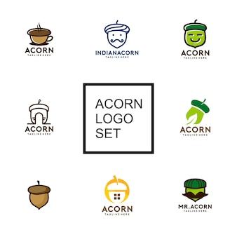 Coleção de logotipo de bolota