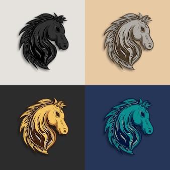 Coleção de logotipo de cabeça de cavalo