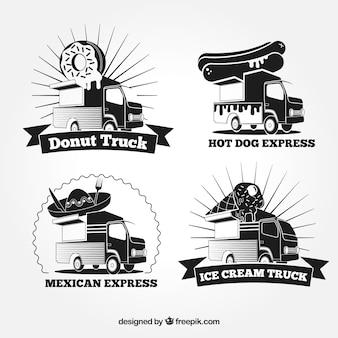 Coleção de logotipo de caminhão de alimentos preto e branco