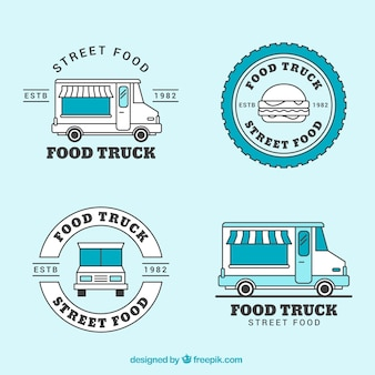 Coleção de logotipo de caminhão de alimentos vintage