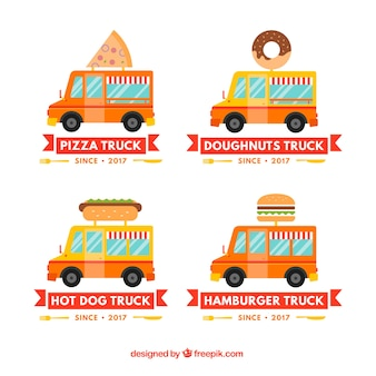 Coleção de logotipo de caminhão de alimentos