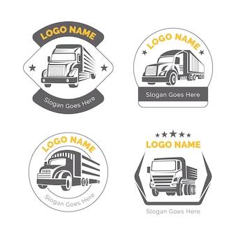 Coleção de logotipo de caminhão plano