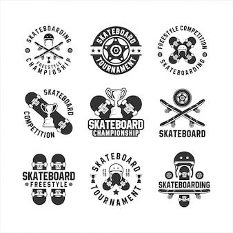 Coleção de logotipo de campeonato de estilo livre de skate