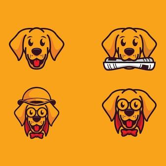 Coleção de logotipo de cão dos desenhos animados