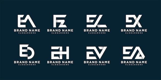 Coleção de logotipo de carta com conceito novo
