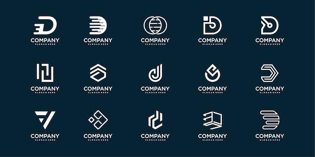 Coleção de logotipo de carta com d inicial, conceito moderno