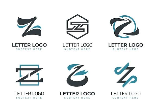 Coleção de logotipo de carta plana #z