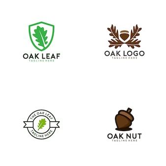 Coleção de logotipo de carvalho