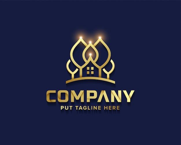 Coleção de logotipo de casa de árvore dourada de negócios criativos