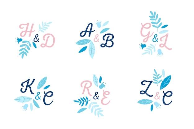Coleção de logotipo de casamento criativo