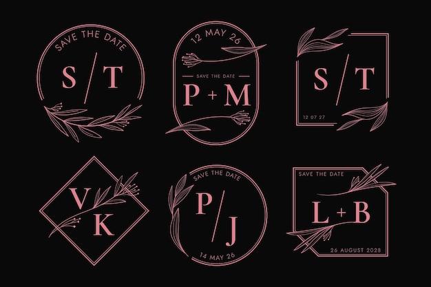 Coleção de logotipo de casamento de design plano linear