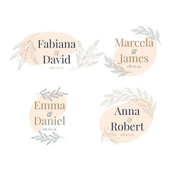 Coleção de logotipo de casamento de design plano