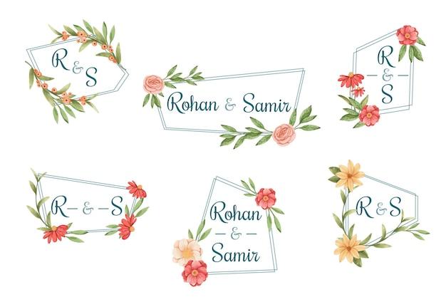 Coleção de logotipo de casamento em estilo pintado à mão
