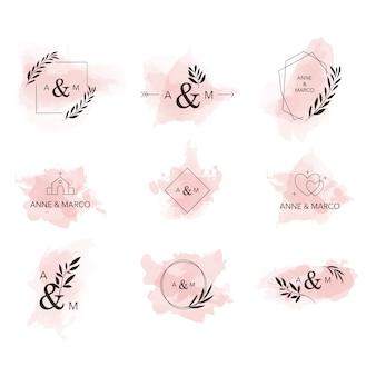 Coleção de logotipo de casamento estética mínima aquarela