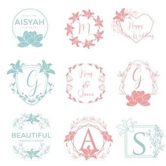 Coleção de logotipo de casamento floral feminino