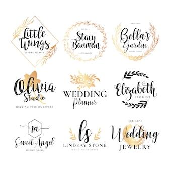 Coleção de logotipo de casamento