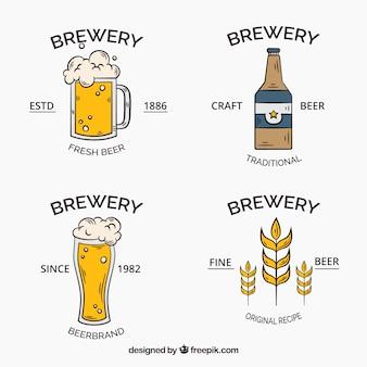 Coleção de logotipo de cerveja desenhada a mão