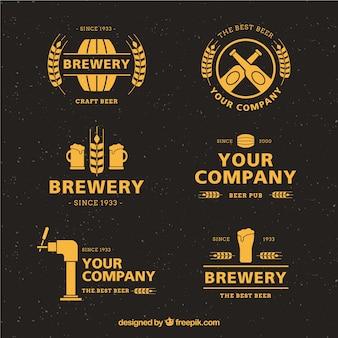 Coleção de logotipo de cerveja plana