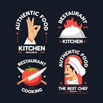 Coleção de logotipo de chef de design plano