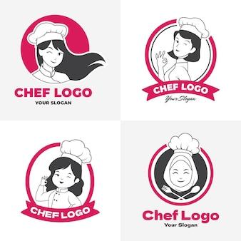 Coleção de logotipo de chef feminina