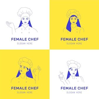 Coleção de logotipo de chef mulher plana