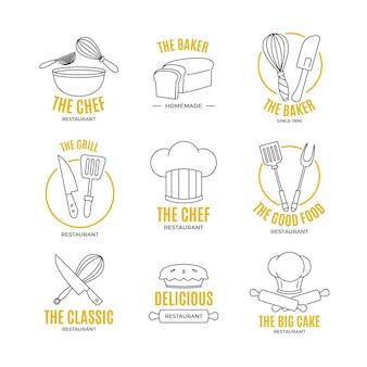 Coleção de logotipo de chef plano linear