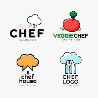 Coleção de logotipo de chef plano