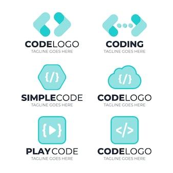 Coleção de logotipo de código azul de design plano