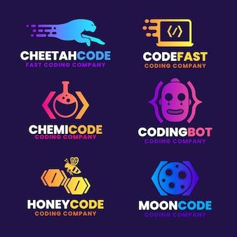 Coleção de logotipo de código de design plano colorido