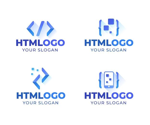 Coleção de logotipo de código de design plano