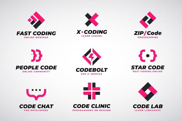 Coleção de logotipo de código simples