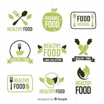 Coleção de logotipo de comida saudável de mão desenhada