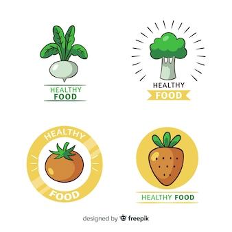 Coleção de logotipo de comida saudável