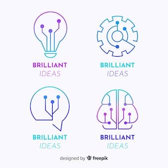 Coleção de logotipo de conceito de tecnologia gradiente